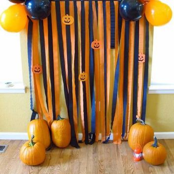 10 Coils Halloween Party Black & Orange Fringe Curtain Halloween Hanging  Fringe Doorway Decorations Crepe Paper Backdrop