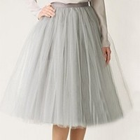 Silver Grey Tulle Pleated Ballerina A Line Full Midi Skirt