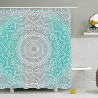 Grey Turquoise Mandala Boho Shower Curtain