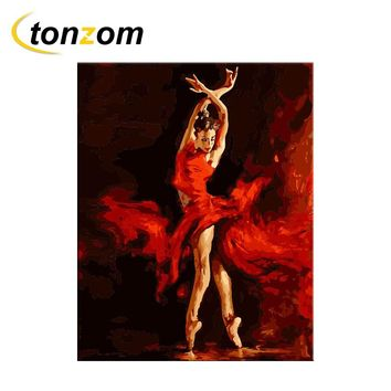 RIHE Red Ballet Dancing Girl Diy Painting By Numbers Abstract Oil Painting On Cuadros Decoracion Acrylic Drawing Wall Art 2018