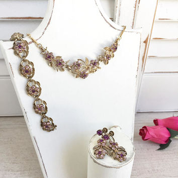 1950's Coro Parure Amethyst Rhinestones, Statement Jewelry Set, Flower Jewelry, Bridesmaid Jewelry, Mother of the Bride Jewelry, Statement