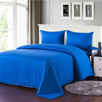 Tache 4 Piece Solid Deep Blue Comforter Set With Zipper