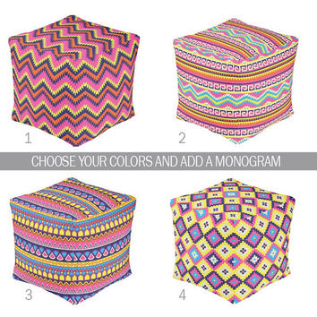 OTTOMAN POUF, Aztec Nursery Decor, Baby Blanket, Tribal Zipper Throw Pillow, Baby Monogram, Matching Nursery Bedding Set, iKat Nursery Rug
