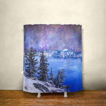 Surreal Shower Curtain, Space Decor, Nature Shower Curtain, Crater Lake, Oregon, Mountain Scene, Nebula, Colorful Bathroom, Rainbow Decor
