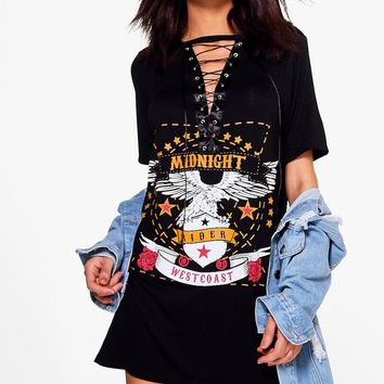 Sheeva Lace Up Band T-Shirt Dress | Boohoo