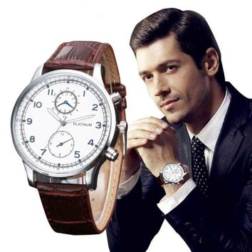 Quartz Wristwatches  Men's Watch Leather Band   Reloj Hombre   Classic Casual   Alloy  Round Watches   17DEC13