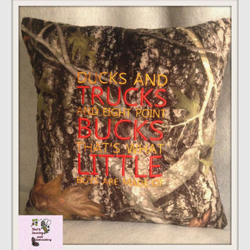Ducks and Trucks and eight Point Bucks that's what little boys are made of Camo True Timber Minky PILLOW  , Baby Shower Gift , CamoPillow