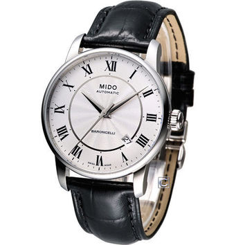Mido Baroncelli White Dial Black Leather Mens Watch M86004214