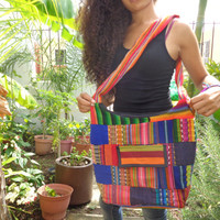 Cotton Sling Hobo Crossbody Bag Multi Color Patches Hippie Bag Womens Sling Purse Large Colorful Gypsy Purse Handcrafted Boho Peruvian Bag
