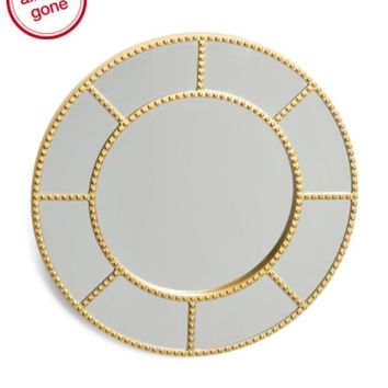 "Sophia 20"" Round Stud Accent Gold Wall Mirror"