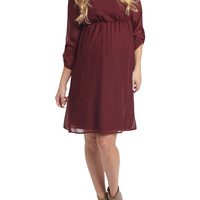 PinkBlush Maternity Chiffon 3/4 Sleeve Maternity Dress - Red -