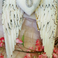 White wings rusty metal with rhinestone embellished heart shabby chic cottage wall decor sculpture anita spero