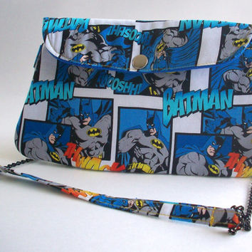 Batman Clutch Purse with Chain Strap / DC Comic Book Bag