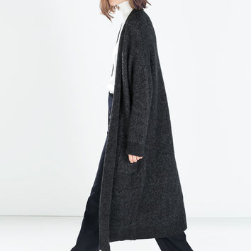 EXTRA LONG CARDIGAN WITH POCKETS - from zara.cn | spring 14