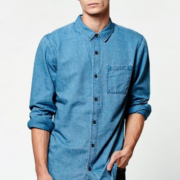 On The Byas Denim Blue Long Sleeve Button Up Shirt - Mens Shirt - Blue