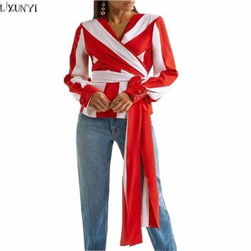 Lxunyi Ladies Tops T-Shirts Red White Striped Shirt Women V Neck Bandage Tops Long Sleeve Q3002
