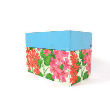 Retro Recipe Box Metal Recipe Box Floral Flowers Colorful Mid Century Kitchen