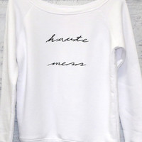 Haute Mess White Premium Graphic Sweatshirt