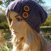 Purple Blue Iridescent Slouchy Hand Knit Oversized Ribbed Woodsy Beanie Hat With Wood Buttons