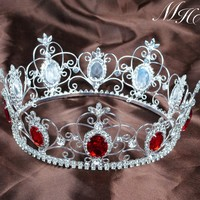 """Queen Princess 3.5"""" Tiara Crown Red Crystal Full Circle Round Headband Clear Rhinestones Wedding Bridal Pageant Party Costumes"""