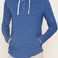 Cotton-Blend Hooded Henley