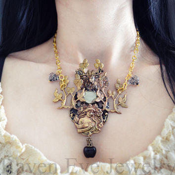 Snow White Necklace Vintage Brass and Glass Limited Edition