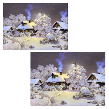 30*24cm 40*30cm 5D Square Diamond Painting Snow house Cross Stitch Kit DIY Set Embroidery Rhinestone Home Decor Needlework