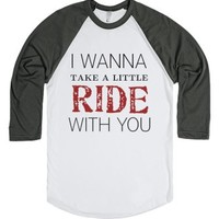 I wanna take a little ride-Unisex White/Asphalt T-Shirt