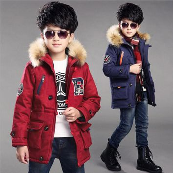 2017 new arrival winter kids hooded jackets boys cotton fashion warm coat children military thick outwear boys long down jackets
