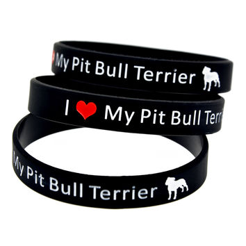 Promo Gift New Arrived 1PC I Love My Pit Bull Terrier Silicone Wristband