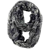 Angel Devil Skull Print Infinity Loop Scarf Snood Women's Gift Winter Accessories, Free Shipping