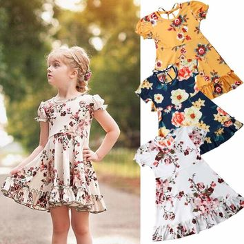 US Toddler Kids Baby Girl Summer Floral Short Sleeve Party Casual Dress Clothes