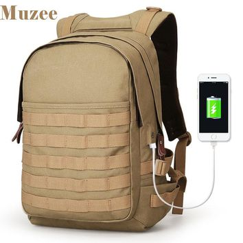 Muzee New Canvas USB Charging Backpack Military Assault Backpack 3 Day Molle Rucksack High Capacity Bag
