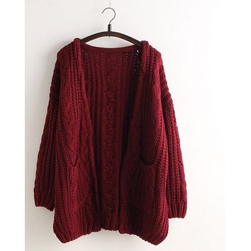 Cardigan Loose Sweater Pocket Buttoned Sweater Jacket Wine red