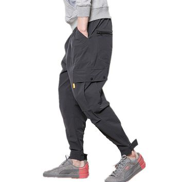 2017 Fitness Long Pants Men Casual Sweatpants Baggy Jogger Trousers Fashion Fitted Bottoms streetwear hiphop black cargo pants