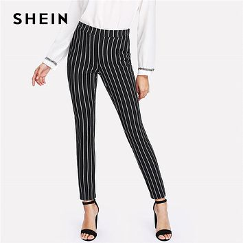 *Online Exclusive* Vertical Striped Skinny Pants Women with Elastic Waist Pocket