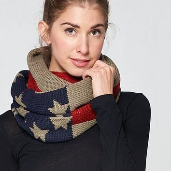 Chunky Knit Patriotic Infinity Scarf