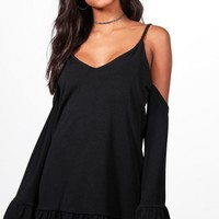 Ivy Cold Shoulder Frill Hem Shift Dress | Boohoo