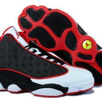 Cheap Air Jordan 13 Retro Men Shoes Black White Red