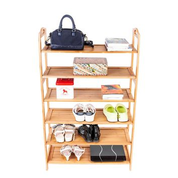 6-layer Portable Bamboo Board Shoe Rack Wood Color