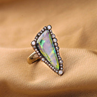 R1186 Vintage Bubbling Clear White Opal Crystals Bora Bora Statement POP Ring