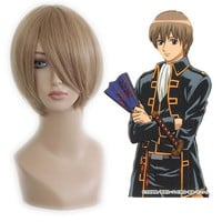Promotion Gifts Fashion 35cm Short Gin Tama-Okita Sougo Blonde Anime Wig flaxen Cosplay Wig,Colorful Candy Colored synthetic Hair Extension Hair piece 1pcs WIG-085A