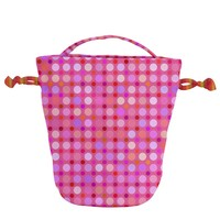 Pink And Purple Dots Drawstring Bucket Bag