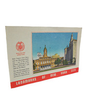 Vintage 1940s Postcard Linen - New York City Landmarks- New York City Hall - Unused