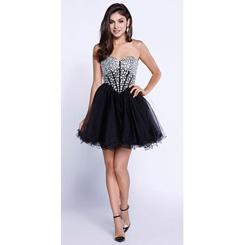 Strapless Rhinestone Embellished Bodice Short Prom Dress Black