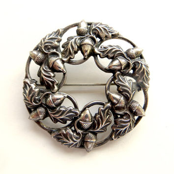 Vintage Danecraft Acorn Brooch Sterling Acorn Pin Oak Leaves Symbol of Strength 1940s Vintage Jewelry