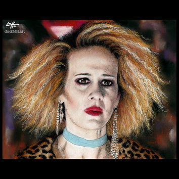 "Print 8x10"" - Hypodermic Sally McKenna - American Horror Story Hotel Sarah Paulson Evan Peters Lady Gaga Ghost Dark Art Horror Halloween Pop"
