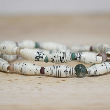 Plum and Green Recycled Sheet Music Paper Bead Bracelet Set