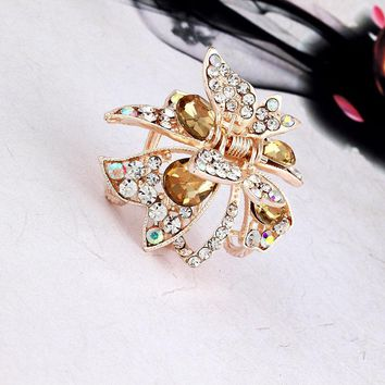 Elegant Crystal Rhinestones Butterfly Hair Claw Clips  Zinc Alloy Headdress For Women Girl Hair Accessories Fashion Hairpins