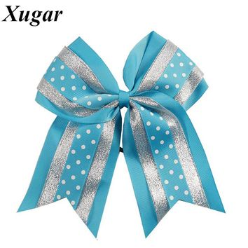 8'' High Quality Large Grosgrain Ribbon Cheer Bow Sweet Dot Cheerleading Bow Pretty Girls Hair Accessories